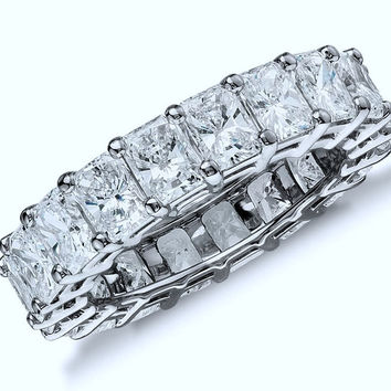 7.85ct Radiant Cut Diamond Eternity Ring JEWELFORME BLUE Bridal Anniversary Platinum