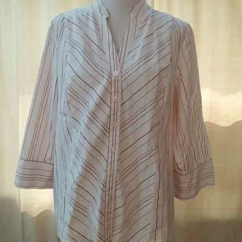 Style & Co Shirt 3/4 Sleeve Stretch Button Front Red White Plus Size 18W