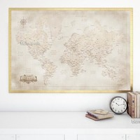 Custom names - Printable world map with cities in vintage style