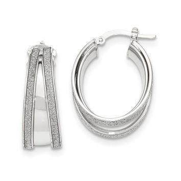 14K White Gold Polished Glitter Infused Small Oval Hoop Earrings