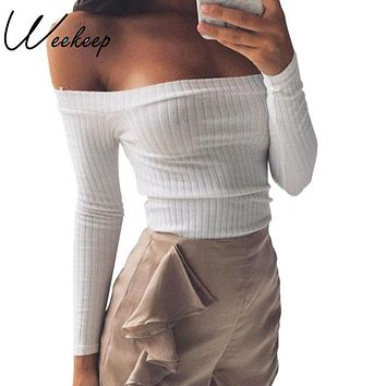 Weekeep 2016 Cotton Ribbed Blouse Sexy Off Shoulder Top Casual Women Blouses Blusas Ropa Mujer Vetement Femme Shirts
