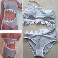 Women Sexy bodysuit push up Bathing swim suit swimwear SHARK BITE CUT OUT MONOKINI Swimsuit One Piece maillot de bain femme