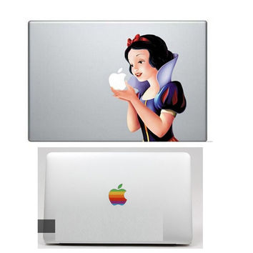 Snow White Vinyl Personality Decal laptop Sticker for mabook Pro 13 15 air 13 / laptop Skin for mac book+rainbow logo sticker