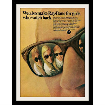 "1969 RAY BAN Sunglasses Ad ""Watch Back"" Vintage Advertisement Print"