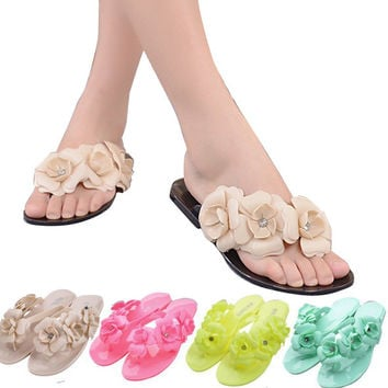 ‰ä?öª‰öª Summer Jelly Shoes with Flower Flip Flops Flat Heel Style  ‰öª‰öª‰ä»