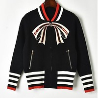 """GUCCI"" Autumn Winter Trending Women Stylish Bow Zipper Cardigan Knit Jacket Coat Black"