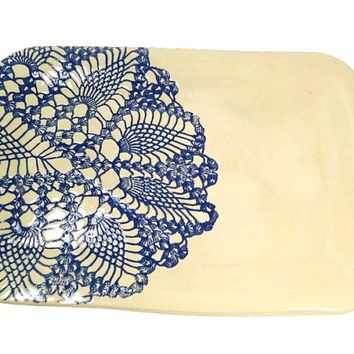 Lace Platter, Blue Kitchen Decor, Cheese Plate, Party Platter, Dessert Dish, Serving Dish, Ceramic Platter, Party Tray, Blue Lace Dish