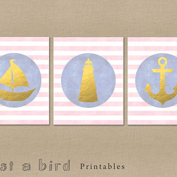 Nautical decor set of 3, nautical for girls, girls room decor set, faux gold foil art, pink and gold nautical art -INSTANT DOWNLOAD