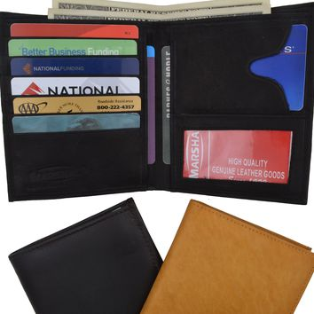 Genuine Leather Large Hipster Bifold Credit Card Id Mens Wallet 502 CF