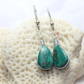 Peruvian Chrysocolla wire wrapped turquoise green earrings dangle teardrop drop Peru beach bohemian Rain Forest stone handmade ooak