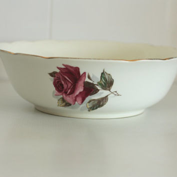 "Old French salad bowl Earthenware factory of GIEN // model ""Chambord"" // Bunch of roses"