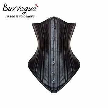 Burvogue Women Black Leather Corsets and Bustiers Waist Control Corsets 20 Steel Bones Slimming Underbust Waist Trainer Corsets