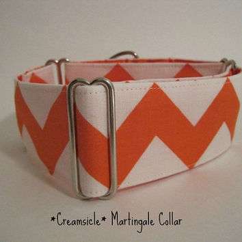 2 inch Chevron Martingale Collar, Orange, Tangerine, Orange and White, Dog Collar, Custom Dog Collar, Greyhound Collar, Boxing Day