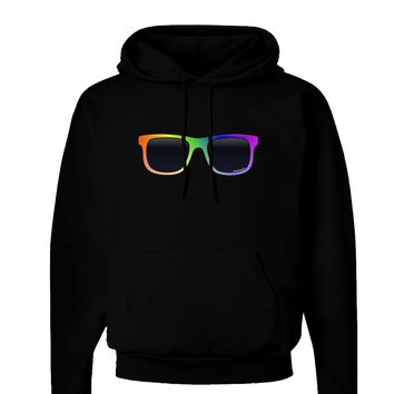 Pride Rainbow Glasses Dark Hoodie Sweatshirt by TooLoud