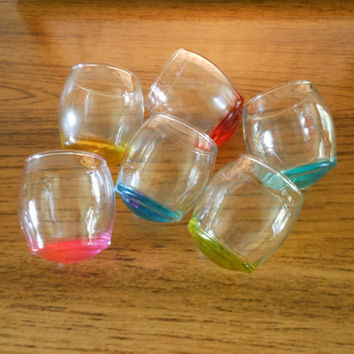 Multi-Color Roly Poly Shot Glasses, Tipsy Shot Glasses, Round Bottom Glasses, Rainbow Shot Glasses, Wobbly Shot Glasses, Colorful Cordials