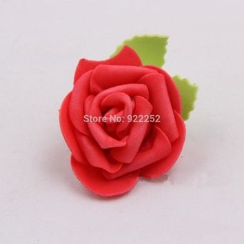 5CM small floral foam eva roses head with leaves,diy bouquet accessories,valentine's day rosas,decoration garlands,wrist corsage