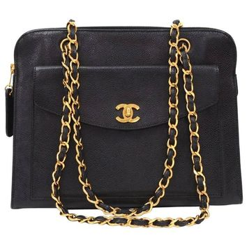 """Chanel 11"""" Black Quilted Caviar Leather Medium Shoulder Tote Bag"""