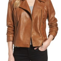 Halogen® Leather Moto Jacket (Regular & Petite) | Nordstrom