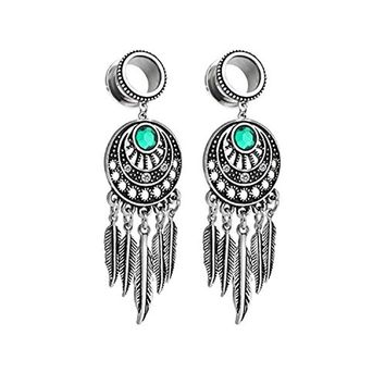 BodyJ4You Pair Surgical Steel Screw-Fit Tunnel Dreamcatcher Dangle Tribal Plug 4G (5mm) Stretcher Gauges