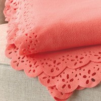 Scalloped Edge Coral Spring Fleece Throw