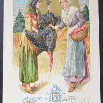 Thanksgiving Postcard, John Winsch, Indian Pilgrim Maidens, Winsch Schmucker Thanksgiving, Antique Postcard, Thanksgiving Ephemera
