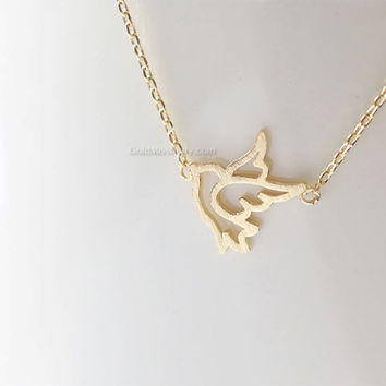 gold dove necklace, sparrow necklace, girly bird necklace, dainty handmade necklace, everyday, simple, birthday, wedding, bridesmaid jewelry