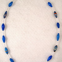 NKBFL02 Necklace made with Handmade Paper Beads