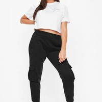 Missguided - Plus Size Black Cargo Joggers