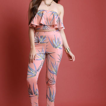 Leaf Print Ruffle Tube Top And High Waist Pants Set | UrbanOG