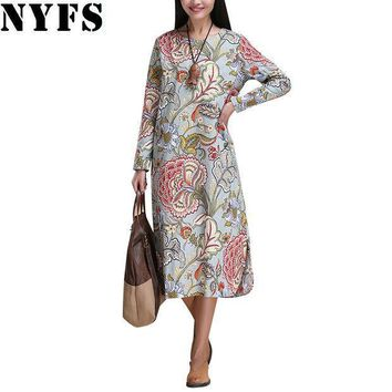 ESBU3C 2017 Spring Autumn Women dress National Printing Women long dress long sleeve Casual Cotton Linen Loose Plus Size Vestidos Robe