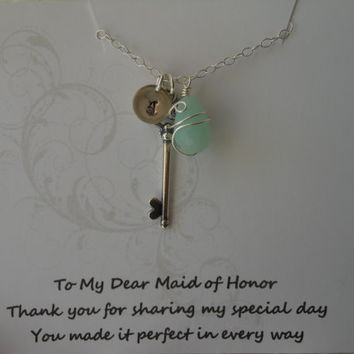 Maid of Honor Gift, Silver Key Necklace, Personalized Necklace, Handstamped Jewelry, Wire Wrapped Stone, Keepsake Gift