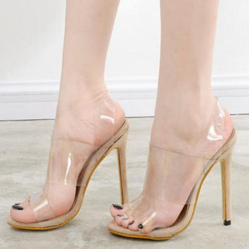 2017 Summer Women Sandals Clear Transparent 12 cm Heels Shoes,High Heel Gladiator shoes,Thin Heels High Slip on Jelly Shoes