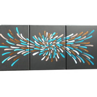 3 Panel, Painting, Turquoise and Bronze, Abstract