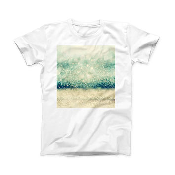 The Teal and Gold Unfocused Orbs of Light ink-Fuzed Front Spot Graphic Unisex Soft-Fitted Tee Shirt