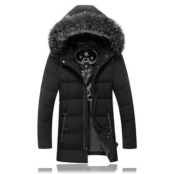2016 New Arrival fashion Men's Hooded keep warm long Thickening 80% White duck down jacket Parkas Men's Winter jackets