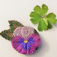 Hand Beaded Pansy Flower Brooch in Purples