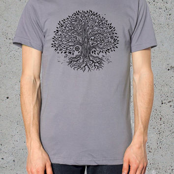Mens TREE of Life T shirt American Apparel TShirt Unisex  S M L XL ( Multiple Colors Available)