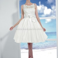 Bridal Party Dresses - Romantic Baby Doll Bateau Taffeta Sash Lace Wedding Dress Style T446 - Mini Wedding Dresses - Wedding Dresses - Wedding Apparel - Affordable Wedding Dresses Manufacturer
