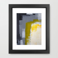 Grey and Yellow Abstract Art Painting Framed Art Print by T30 Gallery