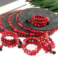 Beverage Coasters and Napkin Rings Set, Beaded, Handmade, Red and Gray