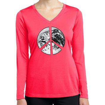 Buy Cool Shirts Ladies Peace Tee Earth Satellite Symbol Dry Wicking Long Sleeve