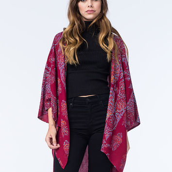 Billabong Tame Heart Womens Kimono Maroon  In Sizes