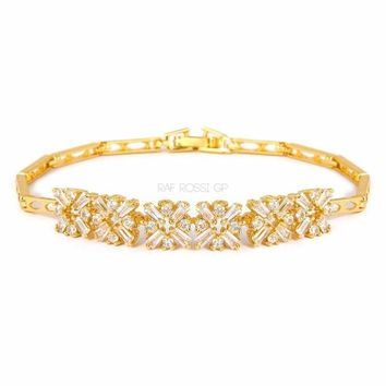 Bonita Cz Clear Flower Gold Plated Bracelet