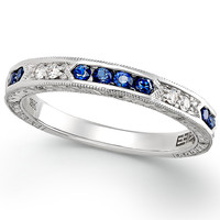 Effy Bridal Diamond (1/10 ct. t.w.) and Sapphire (1/3 ct. t.w.) Wedding Ring in 18k White Gold
