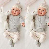Newborn Cute Baby Girls Clothing Bunny Deer Letter Printed T-Shirt+ Pants+Cap Outfits 3pcs Set 0-24M