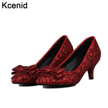 Kcenid New autumn pointed toe shallow wedding shoes evening party high heel pumps red woman shoes glittering bowtie bridal shoes