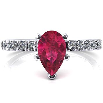 Nefili Pear Ruby 5 Prong 3/4 Eternity Diamond French Pave Engagement Ring