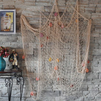 Nautical Fishing Net Seaside Wall Beach Party Sea Shells Home Garden Decor