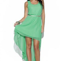 Green Party Dress - Mint Green Dipped Hem Sleeveless | UsTrendy