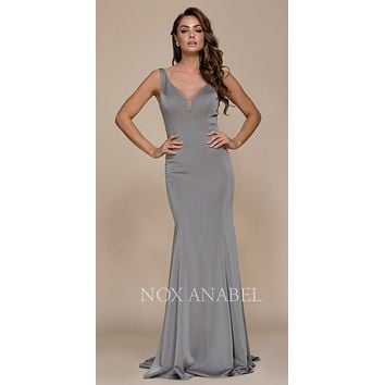 Steel Floor Length Prom Dress Illusion Open Back